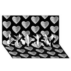 Heart Pattern Silver SORRY 3D Greeting Card (8x4)