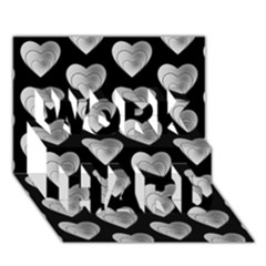 Heart Pattern Silver WORK HARD 3D Greeting Card (7x5)
