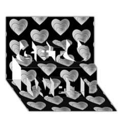 Heart Pattern Silver Get Well 3D Greeting Card (7x5)