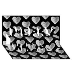 Heart Pattern Silver Merry Xmas 3d Greeting Card (8x4)