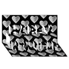 Heart Pattern Silver Happy New Year 3D Greeting Card (8x4)