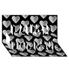Heart Pattern Silver Laugh Live Love 3D Greeting Card (8x4)