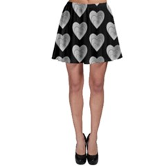 Heart Pattern Silver Skater Skirts