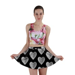 Heart Pattern Silver Mini Skirts
