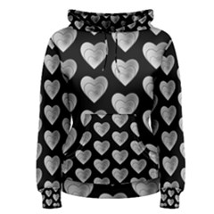 Heart Pattern Silver Women s Pullover Hoodies