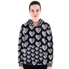 Heart Pattern Silver Women s Zipper Hoodies