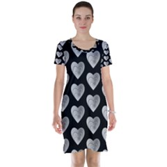 Heart Pattern Silver Short Sleeve Nightdresses