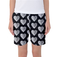 Heart Pattern Silver Women s Basketball Shorts