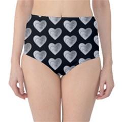 Heart Pattern Silver High-Waist Bikini Bottoms