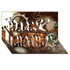 Steampunk In Noble Design Happy Birthday 3D Greeting Card (8x4)