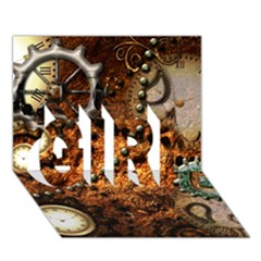 Steampunk In Noble Design Girl 3d Greeting Card (7x5)