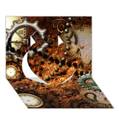 Steampunk In Noble Design Heart 3D Greeting Card (7x5)