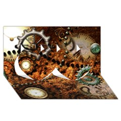 Steampunk In Noble Design Twin Hearts 3D Greeting Card (8x4)