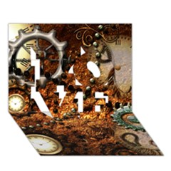 Steampunk In Noble Design LOVE 3D Greeting Card (7x5)