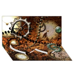 Steampunk In Noble Design Twin Heart Bottom 3D Greeting Card (8x4)