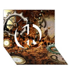 Steampunk In Noble Design Peace Sign 3D Greeting Card (7x5)