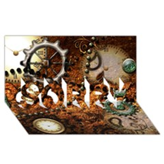Steampunk In Noble Design Sorry 3d Greeting Card (8x4)
