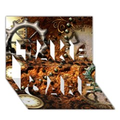 Steampunk In Noble Design Take Care 3d Greeting Card (7x5)