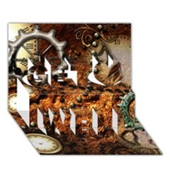 Steampunk In Noble Design Get Well 3d Greeting Card (7x5)