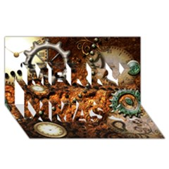 Steampunk In Noble Design Merry Xmas 3D Greeting Card (8x4)