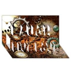 Steampunk In Noble Design Laugh Live Love 3d Greeting Card (8x4)