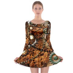 Steampunk In Noble Design Long Sleeve Skater Dress