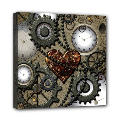 Steampunk With Clocks And Gears And Heart Mini Canvas 8  X 8