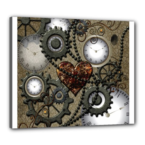 Steampunk With Clocks And Gears And Heart Canvas 24  x 20