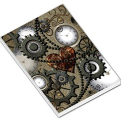Steampunk With Clocks And Gears And Heart Large Memo Pads