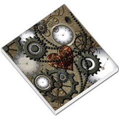 Steampunk With Clocks And Gears And Heart Small Memo Pads