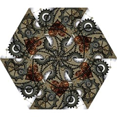 Steampunk With Clocks And Gears And Heart Mini Folding Umbrellas