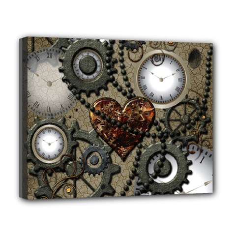 Steampunk With Clocks And Gears And Heart Deluxe Canvas 20  x 16