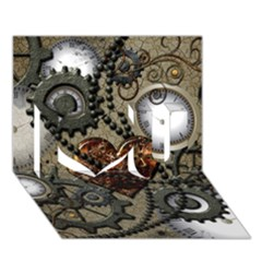 Steampunk With Clocks And Gears And Heart I Love You 3D Greeting Card (7x5)