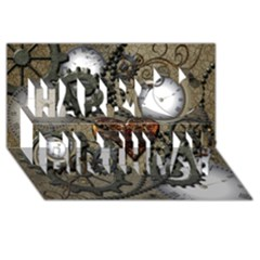 Steampunk With Clocks And Gears And Heart Happy Birthday 3d Greeting Card (8x4)