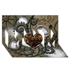 Steampunk With Clocks And Gears And Heart Mom 3d Greeting Card (8x4)