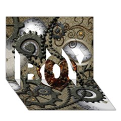 Steampunk With Clocks And Gears And Heart BOY 3D Greeting Card (7x5)