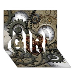 Steampunk With Clocks And Gears And Heart Girl 3d Greeting Card (7x5)