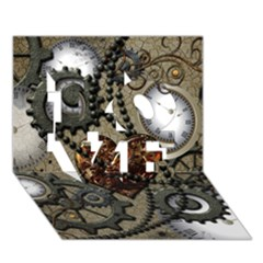 Steampunk With Clocks And Gears And Heart Love 3d Greeting Card (7x5)