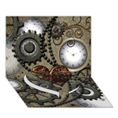 Steampunk With Clocks And Gears And Heart Heart Bottom 3D Greeting Card (7x5)
