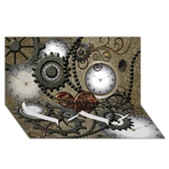 Steampunk With Clocks And Gears And Heart Twin Heart Bottom 3D Greeting Card (8x4)