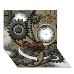 Steampunk With Clocks And Gears And Heart Circle Bottom 3d Greeting Card (7x5)