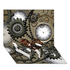 Steampunk With Clocks And Gears And Heart Love Bottom 3d Greeting Card (7x5)