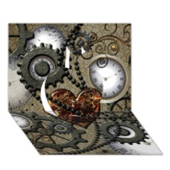 Steampunk With Clocks And Gears And Heart Apple 3d Greeting Card (7x5)