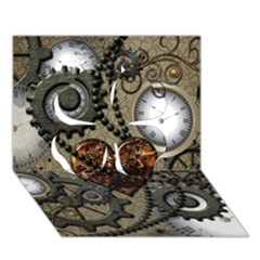 Steampunk With Clocks And Gears And Heart Clover 3D Greeting Card (7x5)