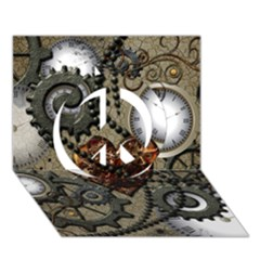 Steampunk With Clocks And Gears And Heart Peace Sign 3D Greeting Card (7x5)