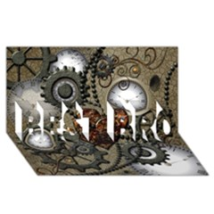 Steampunk With Clocks And Gears And Heart BEST BRO 3D Greeting Card (8x4)