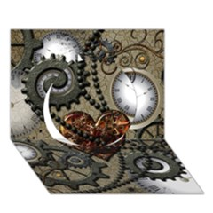 Steampunk With Clocks And Gears And Heart Circle 3D Greeting Card (7x5)