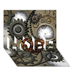 Steampunk With Clocks And Gears And Heart HOPE 3D Greeting Card (7x5)