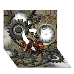 Steampunk With Clocks And Gears And Heart Ribbon 3D Greeting Card (7x5)