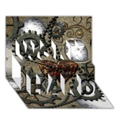 Steampunk With Clocks And Gears And Heart Work Hard 3d Greeting Card (7x5)